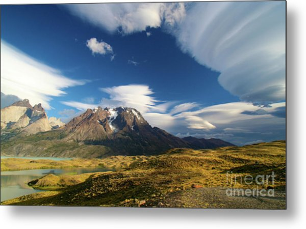 Mountains And Clouds In Patagonia Metal Print