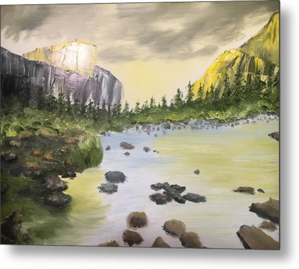 Mountains And Stream Metal Print