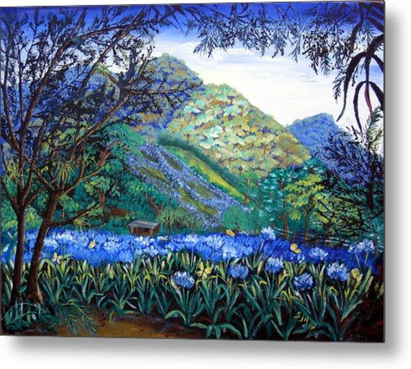 Mountains In Blue Metal Print
