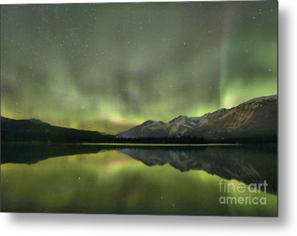 Mountains In The Northern Lights Metal Print