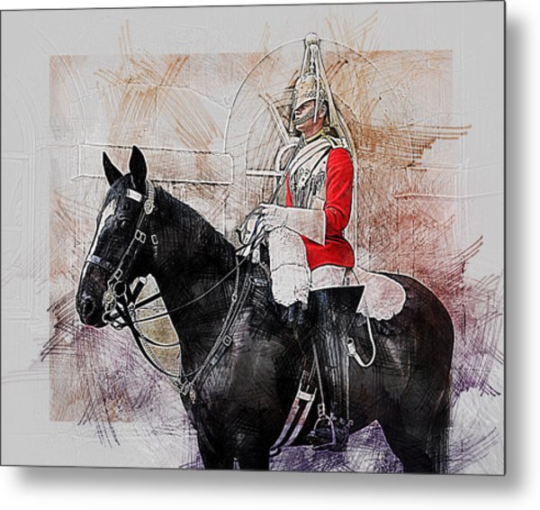 Mounted Household Cavalry Soldier On Guard Duty In Whitehall Lon Metal Print