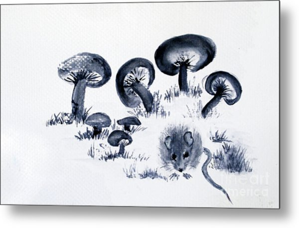 Mouse N Mushrooms Metal Print