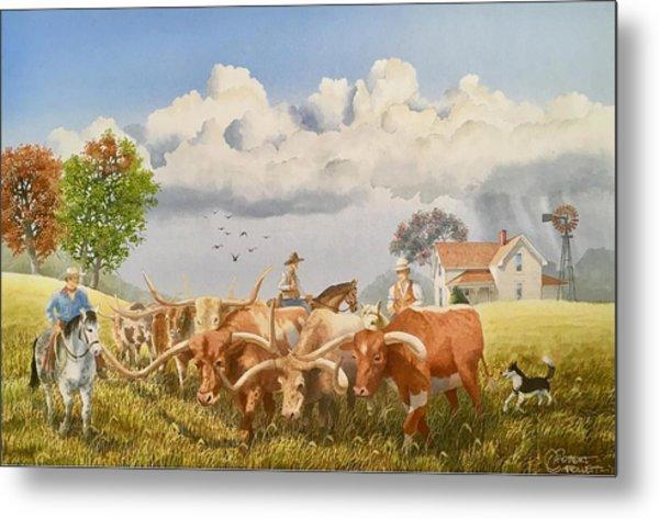 Moving The Herd Metal Print