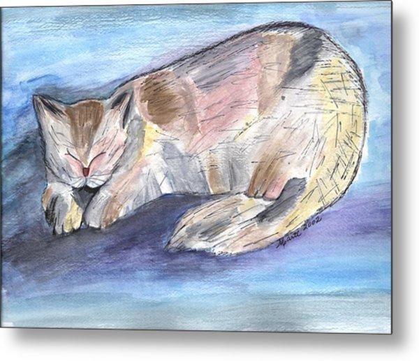 Mprints - Rainbow Cat Metal Print by M  Stuart