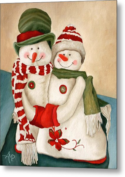 Mr. And Mrs. Snowman Vintage Metal Print