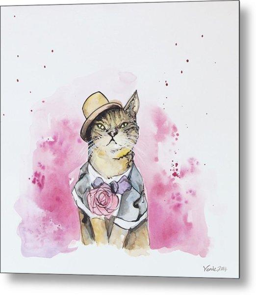 Mr Cat In Costume Metal Print