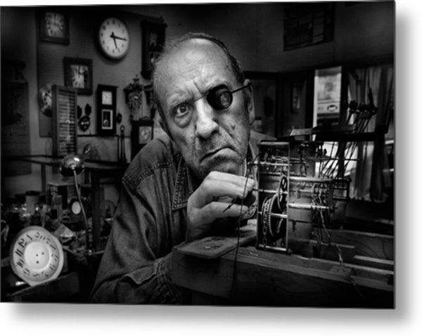 Mr. Domenico, The Watchmaker, To Work With Complicated Mechanisms Metal Print