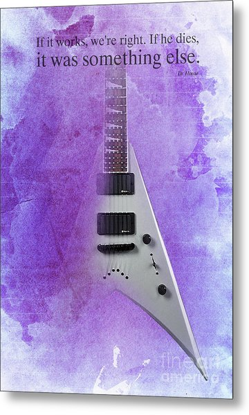 Dr House Inspirational Quote And Electric Guitar Purple Vintage Poster For Musicians And Trekkers Metal Print