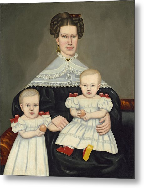 Mrs Paul Smith Palmer And Her Twins Metal Print