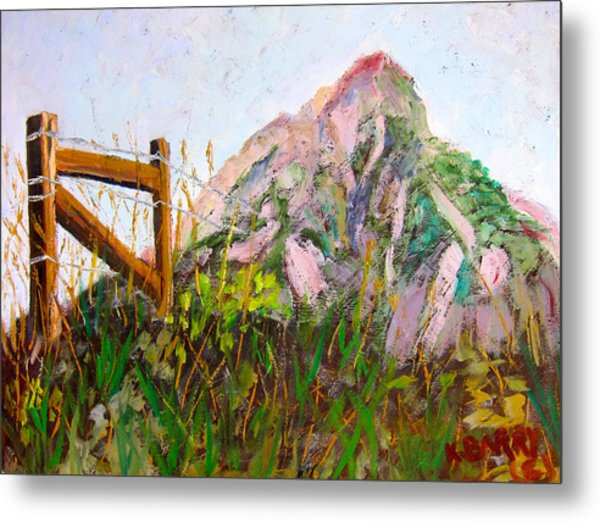 Mt. Crested Butte And Fence Metal Print