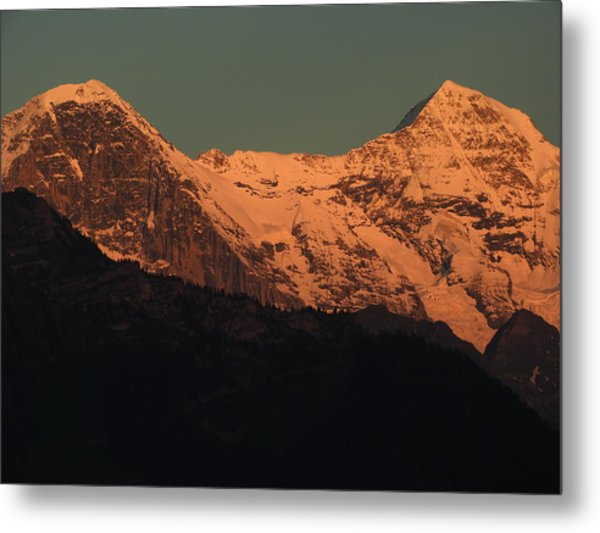 Mt. Eiger And Mt. Moench At Sunset Metal Print