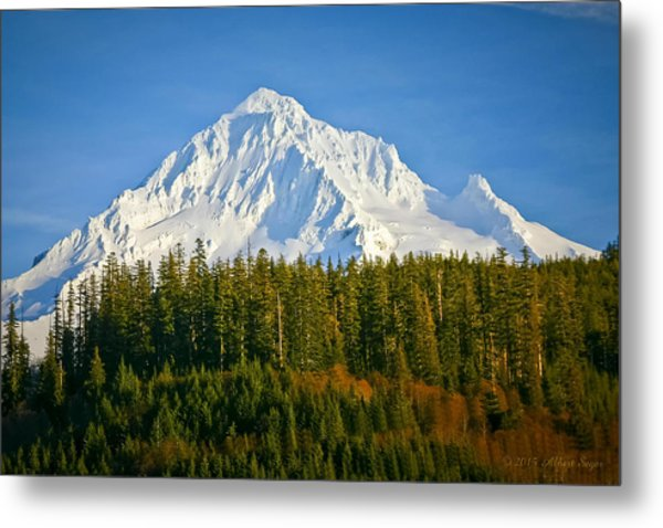 Mt Hood In Winter Metal Print