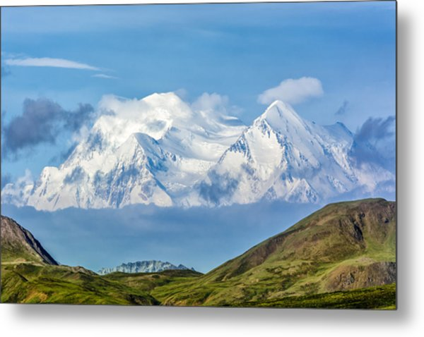 Mt Mckinley Materializes Out Of The Clouds. Metal Print