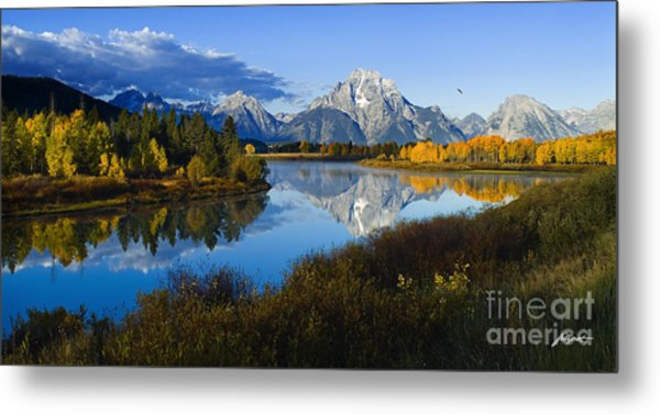 Mt. Moran On The Snake River Metal Print