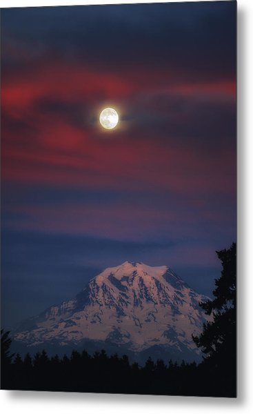 Mt Rainer Super Moon Metal Print
