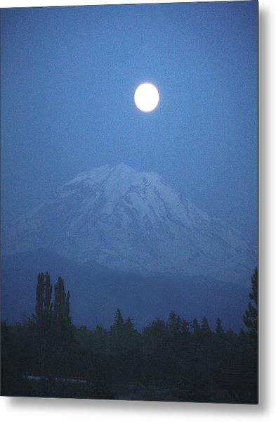 Mt Rainier Full Moon Metal Print