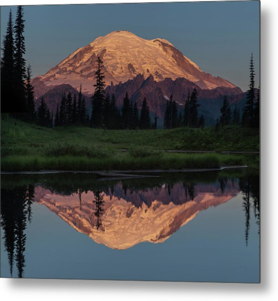 Mt Rainier Mirror Image Metal Print by Angie Vogel