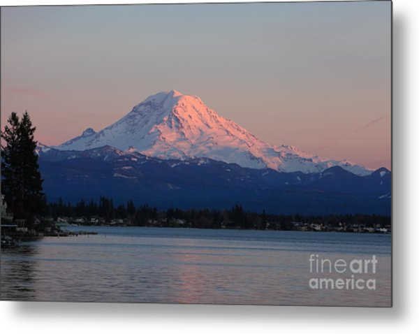 Metal Print featuring the photograph Mt Rainier Sunset by Peter Simmons