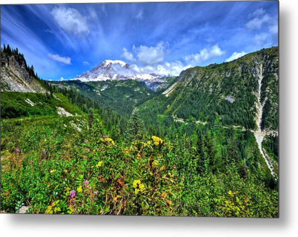 Mt. Rainier Through The Clouds  Metal Print
