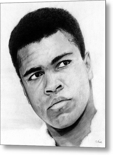 Muhammad Ali Pencil Drawing Metal Print