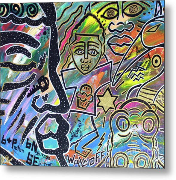 Multi-dimensional Beings Stepping Out The Body Walking Through The Cosmos Metal Print