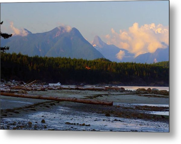 Multileval Photography In One Land Water Trees Mountain Clouds Skyview Olympic National Park America Metal Print