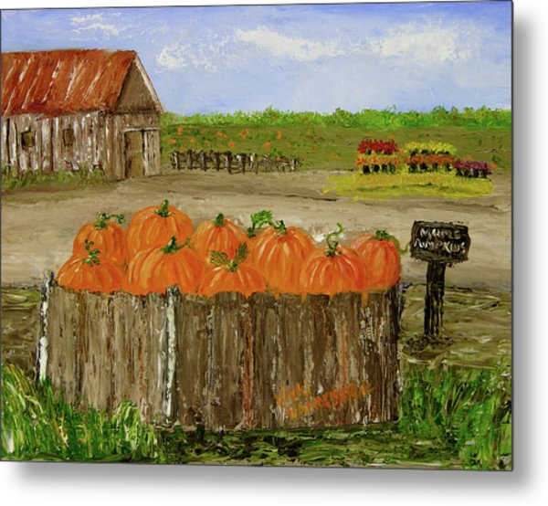 Mum And Pumpkin Harvest Metal Print