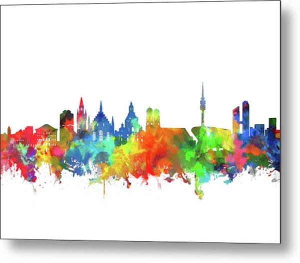 Munich City Skyline Watercolor 2 Metal Print