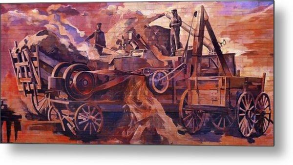 Mural 12x90 Feet Detail Threshing Crew Metal Print