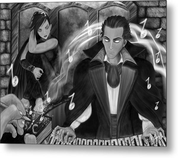 Music Is Magic - Black And White Fantasy Art Metal Print