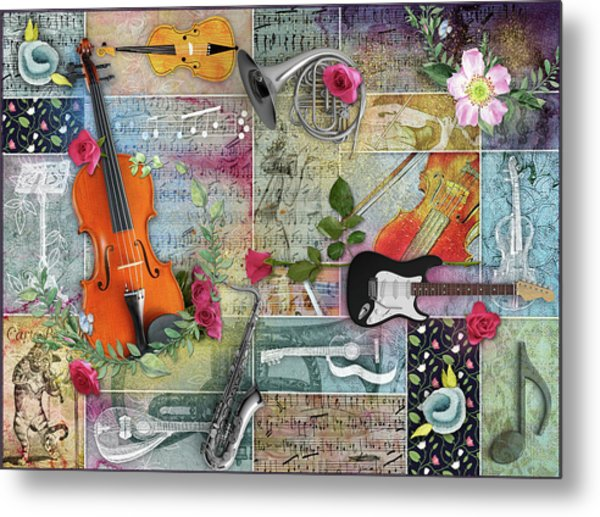 Musical Garden Collage Metal Print