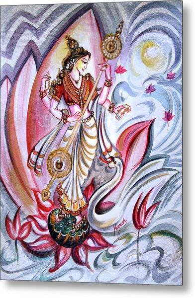 Musical Goddess Saraswati - Healing Art Metal Print