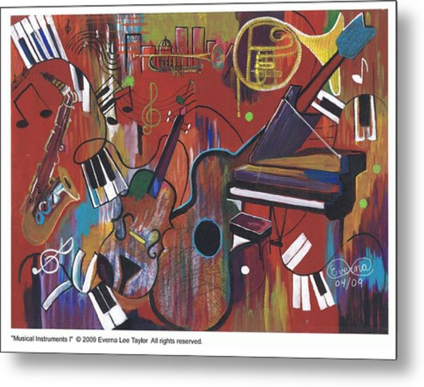 Musical Instruments 1 Metal Print by Everna Taylor