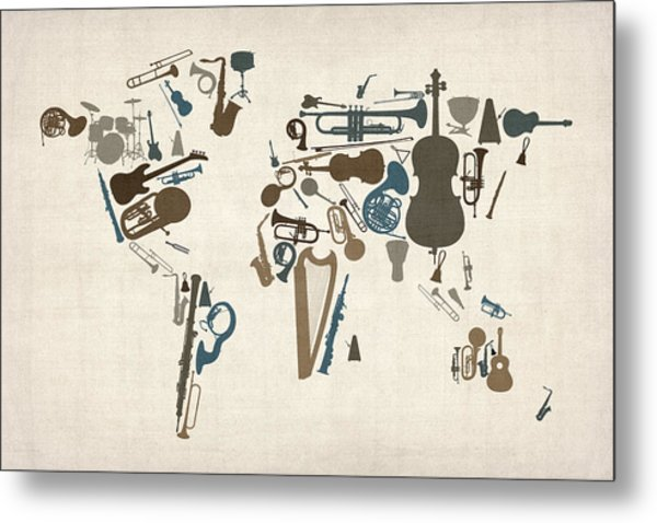 Musical Instruments Map Of The World Map Metal Print
