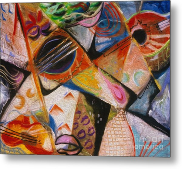 Metal Print featuring the pastel Musical Pastels by Donna Hall