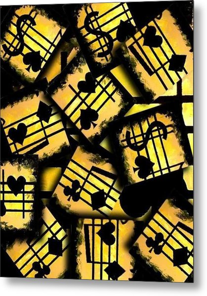 Musical Poker Casino Collage Metal Print by Teo Alfonso