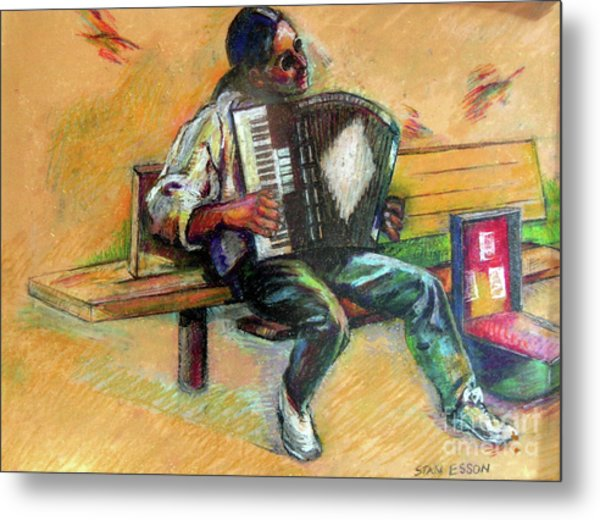 Musician With Accordion Metal Print