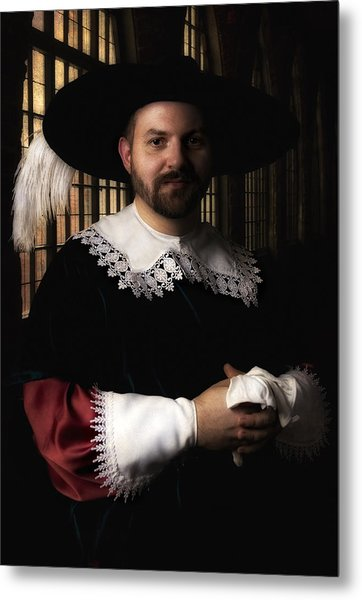 Musketeer In The Old Castle Hall Metal Print