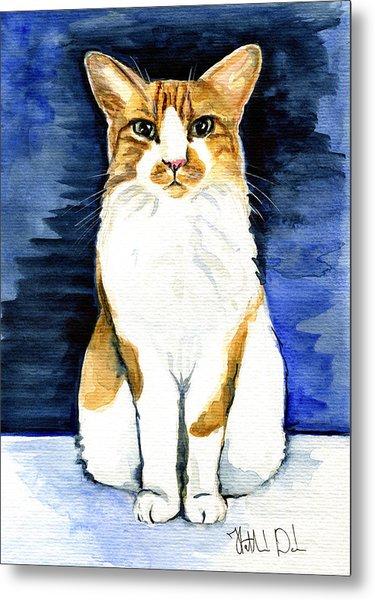 Mustached Bicolor Beauty - Cat Portrait Metal Print