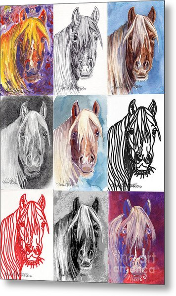 Metal Print featuring the painting Mustang Mare 1154 by Linda L Martin