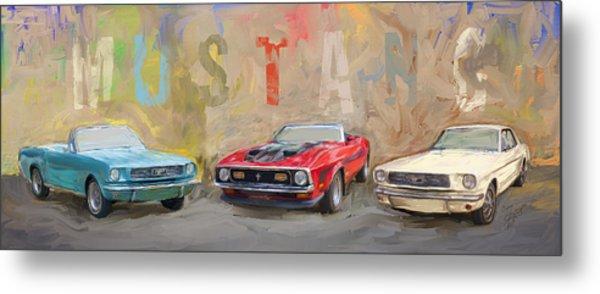 Mustang Panorama Painting Metal Print