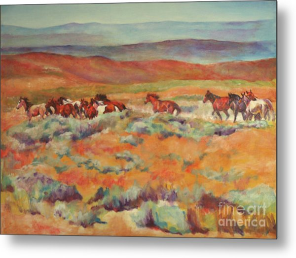 Mustangs Running Near White Mountain Metal Print by Karen Brenner