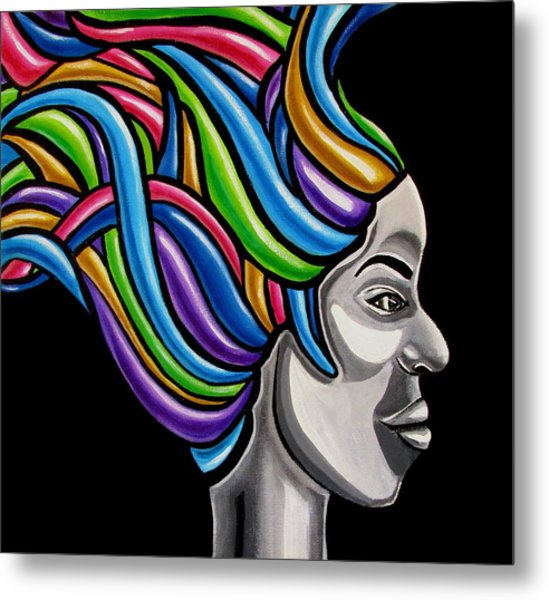 Abstract Female Face Artwork - My Attitude Metal Print