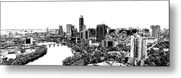My Austin Skyline In Stamp Metal Print