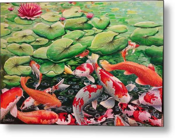 My Backyard Pond Metal Print