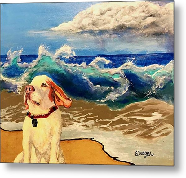 My Dog And The Sea #1 - Beagle Metal Print