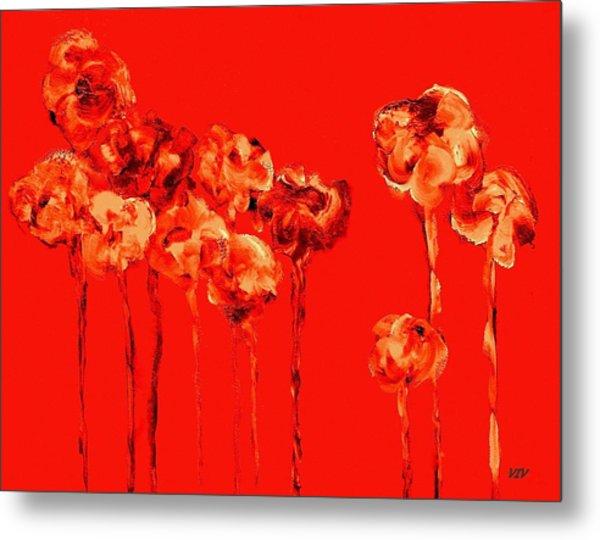 My Garden - Red Metal Print