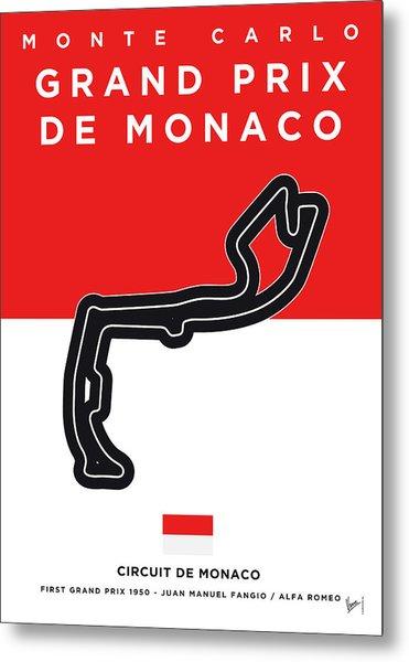 My Grand Prix De Monaco Minimal Poster Metal Print
