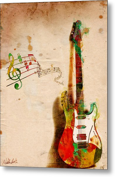 Metal Print featuring the digital art My Guitar Can Sing by Nikki Smith