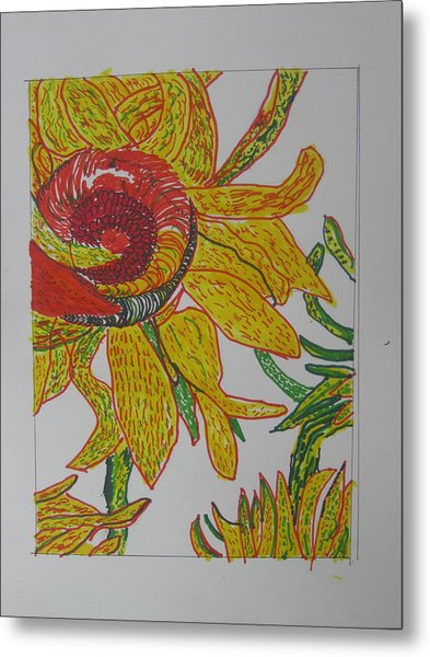 My Version Of A Van Gogh Sunflower Metal Print